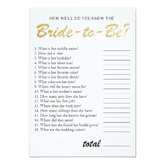 You know the bride bridal shower game gold card