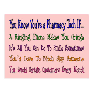 You Know You're a PHARMACY TECH IF... Postcard