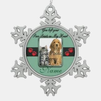 You left your Paw Prints on My Heart Green Snowflake Pewter Christmas Ornament