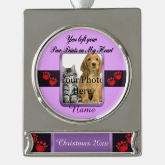 You left your Paw Prints on My Heart Memorial Silver Plated Banner Ornament
