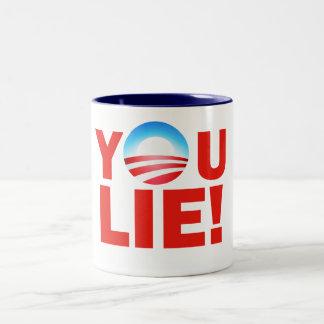 You Lie Barack Hussein Obama Two-Tone Coffee Mug