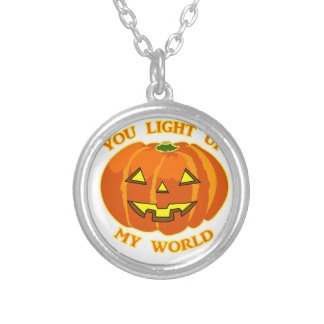 You Light Up My World Halloween Pumpkin Silver Plated Necklace