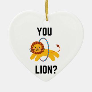You Lion? Humor Illustration Design Collection Ceramic Ornament