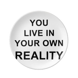 YOU LIVE IN YOUR OWN REALITY DINNER PLATE