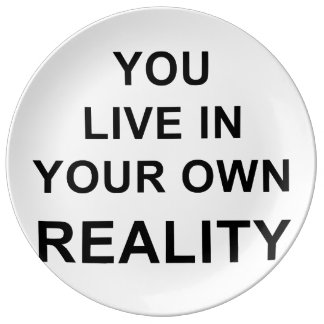 YOU LIVE IN YOUR OWN REALITY PLATE