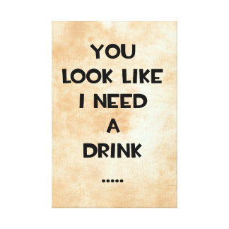 You look like i need a drink ... funny quote meme canvas print