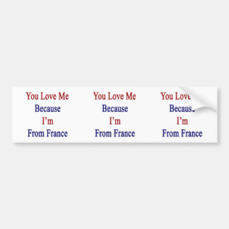 You Love Me Because I'm From France Car Bumper Sticker