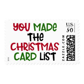 You Made the Christmas Card List, Holiday Humor Postage