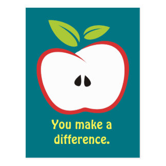 You make a difference apple postcard