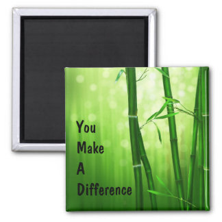You Make a Difference Bamboo 2 Inch Square Magnet