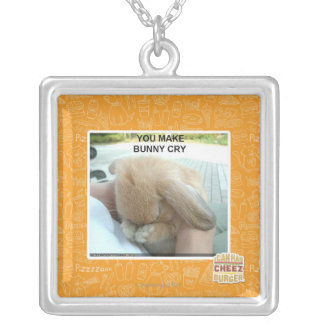 You make bunny cry silver plated necklace
