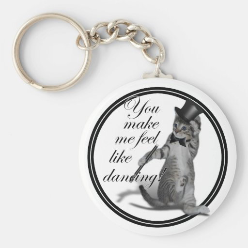 You make me feel like Dancing! Tap Dancing Cat Basic Round Button Keychain