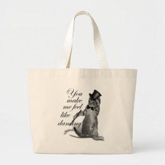 You make me feel like Dancing! Tap Dancing Cat Large Tote Bag