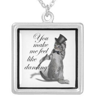 You make me feel like Dancing! Tap Dancing Cat Square Pendant Necklace