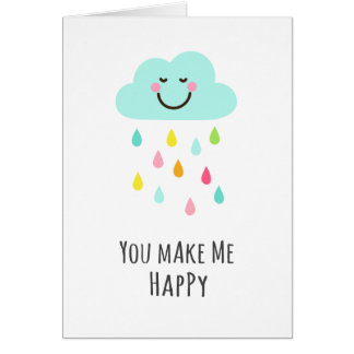 You make me happy, cloud with colorful raindrops card