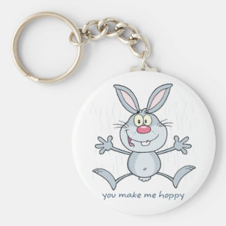 You Make Me Hoppy Bunny Rabbit Basic Round Button Keychain