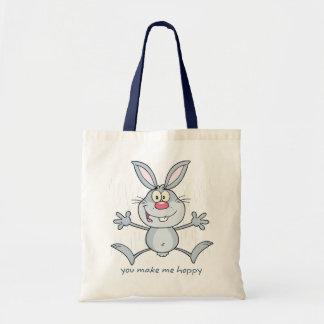 You Make Me Hoppy Bunny Rabbit Tote Bag