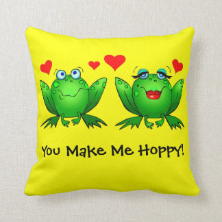 You Make Me Hoppy Cute Cartoon Green Frogs Hearts Throw Pillow