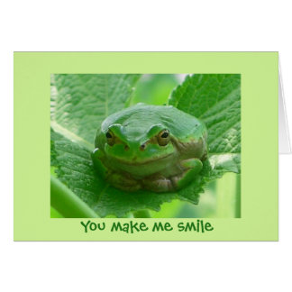You make me smile - green frog close up card