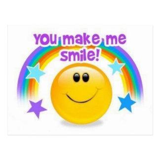 you make me smile postcard