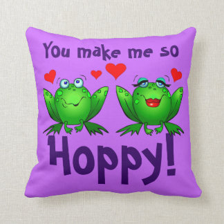 You Make Me So Hoppy Cartoon Frogs Red Hearts Throw Pillow