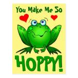 You Make Me So Hoppy Cute Cartoon Frog with Hearts Postcard