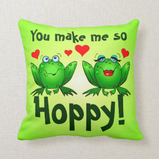 You Make Me So Hoppy Green Frogs Pillow