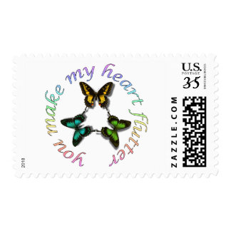 You Make My Heart Flutter Butterfly Postcard Stamp