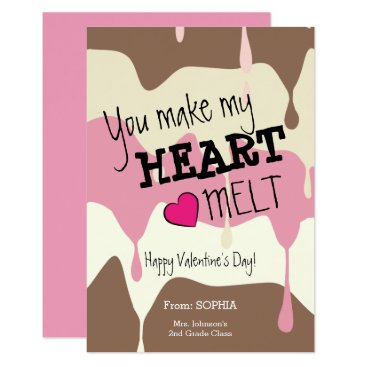 Beach Themed You Make My Heart Melt Classroom Valentine Card