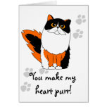 You Make My Heart Purr Greeting Card - Calico Cat