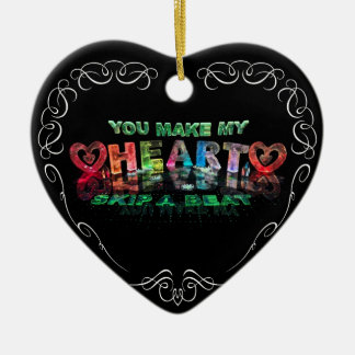 You Make My Heart Skip a Beat Double-Sided Heart Ceramic Christmas Ornament