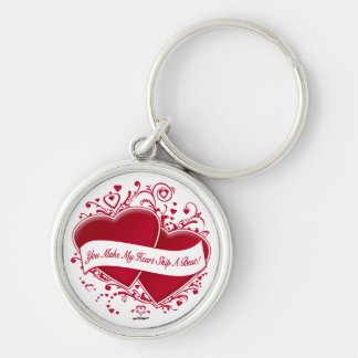 You Make My Heart Skip A Beat! Red Hearts Keychain