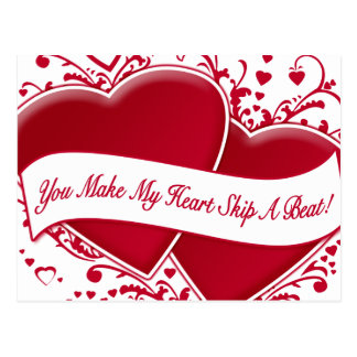 You Make My Heart Skip A Beat! Red Hearts Postcard