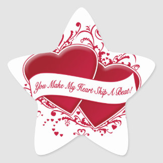You Make My Heart Skip A Beat! Red Hearts Star Sticker