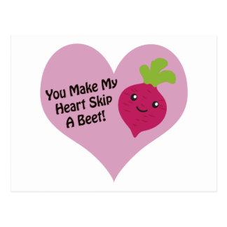 You Make My Heart Skip A Beet Postcard
