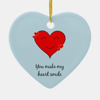 You make my heart smile ceramic ornament