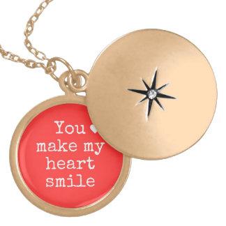 """You make my heart smile"" necklace floating locket"