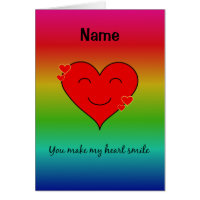You make my heart smile rainbow named card