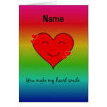 You make my heart smile rainbow personalised card