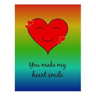 You make my heart smile rainbow postcard