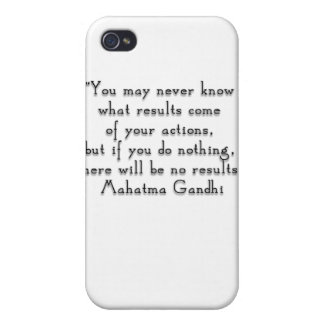 """""""You may never know what results..."""" Gandhi quote Cover For iPhone 4"""