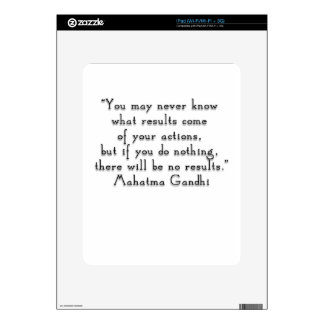 """""""You may never know what results..."""" Gandhi quote iPad Decals"""