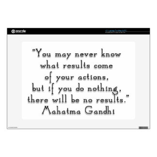 """""""You may never know what results..."""" Gandhi quote Laptop Decals"""
