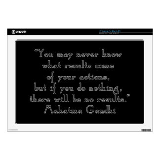 """""""You may never know what results..."""" Gandhi quote Laptop Skin"""