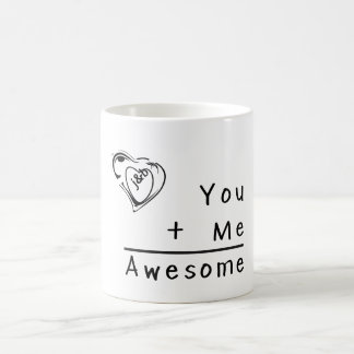 You+Me=Awesome Faux Burlap Wedding Personalized Coffee Mugs