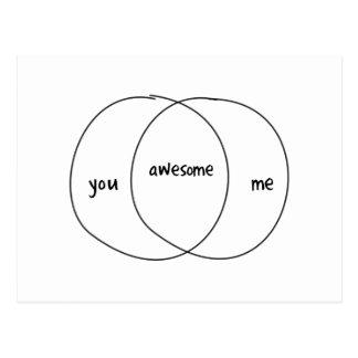 You Me Awesome Venn Diagram Post Card
