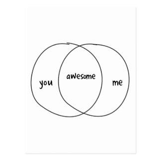 You Me Awesome Venn Diagram Postcard