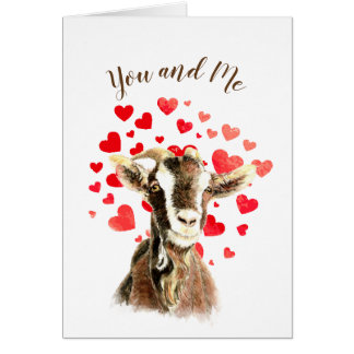 You & Me Goat Together Funny Valentine Romantic Card