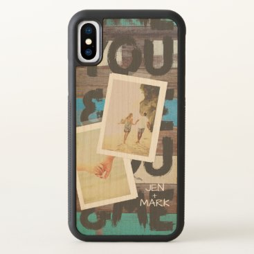 You & Me. Photo Collage of Memories. Beach Wood. iPhone X Case