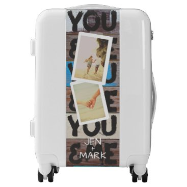 You & Me. Photo Collage of Memories. Beach Wood. Luggage